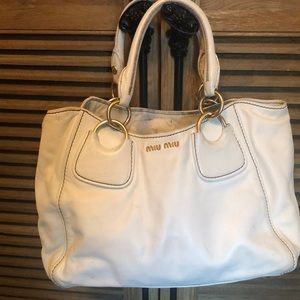 Miu Miu white leather satchel